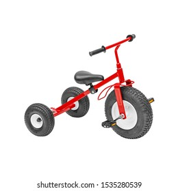 Red and Black Baby Balance Bike Isolated on White. Children's 3 Wheeled Sliding Vehicle. Modern Kids Three Wheels Tricycle Bicycle Side View. Cycling Toddler Training Trike Bike. Infant Walker Scooter