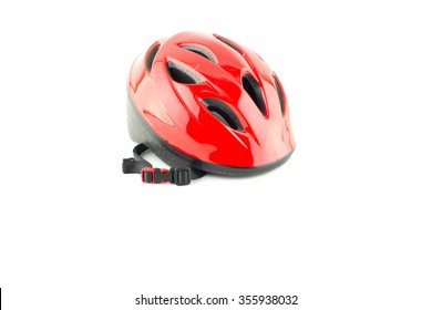 red and black bicycle helmet on  white background