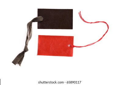 Red and black blank product label isolated on white background