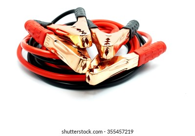 Red and black car battery bumper cable, isolated on white background.  Space for texts.