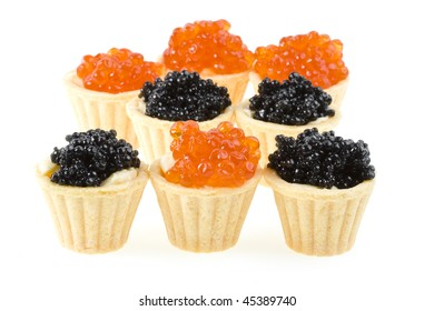 Red and black caviar Isolated on white background