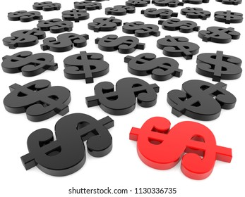 Red and black dollar signs on white.3d illustration