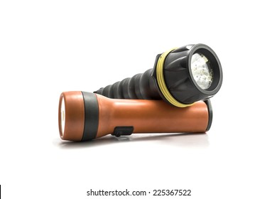 red and black electric pocket flashlight, isolated on white