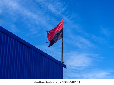 Red and black flag of Ukrainian nationalists in Ukraine a Political Flags the Congress of Ukrainian Nationalism