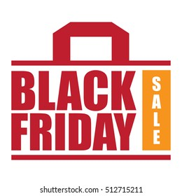 Red Black Friday Sale Infographics Sign or Icon Isolated on White Background