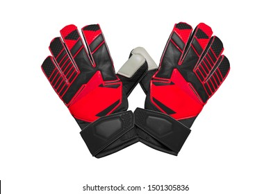 Red and black goalkeeper glove isolated on white.