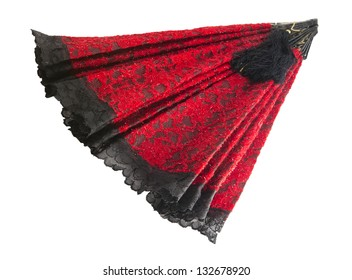 red and black hand fan with brush isolated