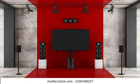 Red and black home cinema system with sound equipment and tv against concrete wall - 3d rendering