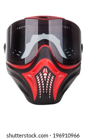 Red and black paintball mask with transparent goggles