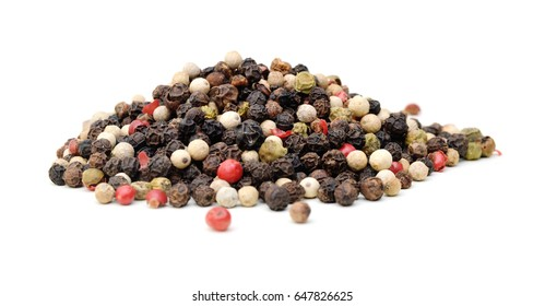 Red and black peppercorns, isolated on white background