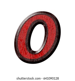 Red and black plastic textured number zero 0 in a 3D illustration in basic bold font with a bevel and rough surface texture isolated on a white background with clipping path.