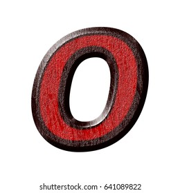 Red and black plastic textured uppercase or capital letter O in a 3D illustration in basic bold font with a bevel and rough surface texture isolated on a white background with clipping path.