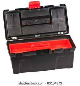 Red and black plastic toolbox with transparent cover and open lid