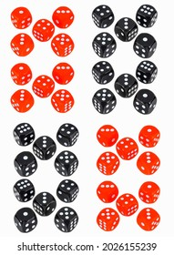 Red and black playing dice. Red balck dices for gambling. Casino dices. Dices isolated on white