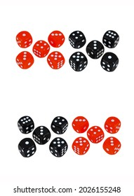 Red and black playing dice. Casino dices for gambling. Red black dices. Dices isolated on white