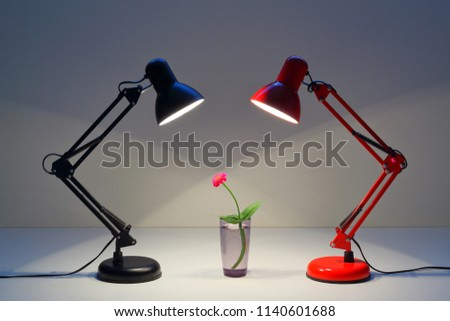 Red Black Table Lamp Shining On Stock Photo Edit Now 1140601688