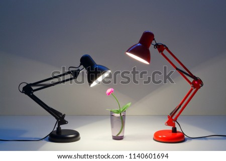 Red Black Table Lamp Shining On Stock Photo Edit Now 1140601694