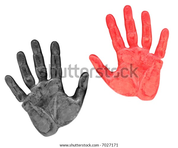 Red and black trace of a hand on white background