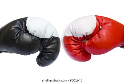 Red and black two boxing gloves competition sparring isolated over white