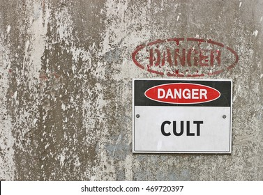 red, black and white Danger, Cult warning sign