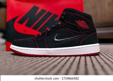 Red, Black and white Nike Jordan 1 | 23 basketball sneakers culture, red stitches | Michael Jordan, Chicago Bulls - Dubai, UAE, April 24, 2020