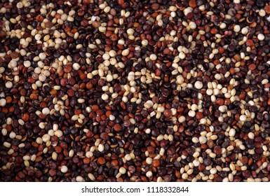 Red, black and white organic quinoa mixed.