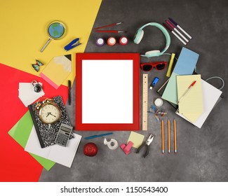 A red blank frame is on a back to school education background with various school supplies and tools to add your message.