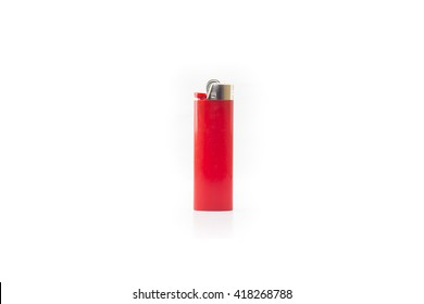 Red blank gas lighter stand isolated on a white background. Empty surface cigar-lighter design presentation.