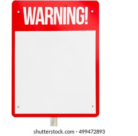 Red Blank Warning sign isolated on white