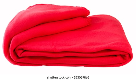 Red blanket, clipping path.
