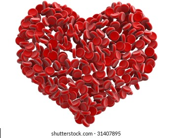 red blood cells heart isolated