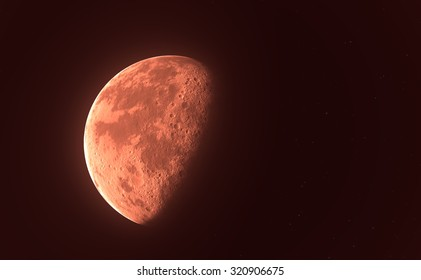 Red blood moon or planet