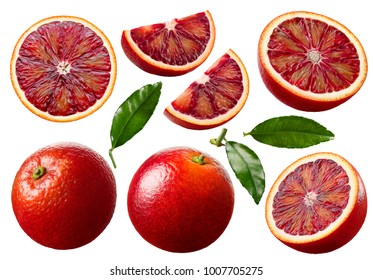 Red blood orange fruit slices set isolated on white background as package design elements