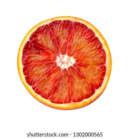 red blood orange isolated on white background. sliced citrus fruit.