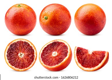 red blood orange, isolated on white background, clipping path, full depth of field