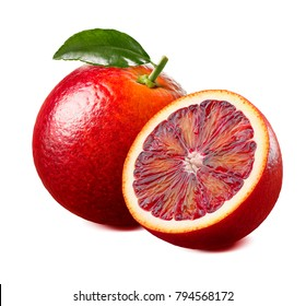 Red blood orange with leaf isolated on white background as package design element