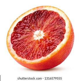 red blood orange slice, isolated on white background, clipping path, full depth of field