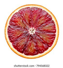 Red blood orange slice isolated on white background as package design element