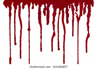 Red blood, white background isolated  Available on Halloween.