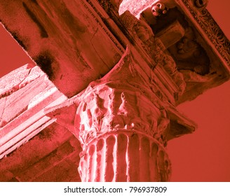 Red bloody colored Apollo Ancient Temple in Side