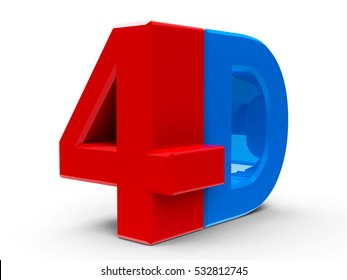 Red and blue 4D text symbol, icon or button isolated on white background, three-dimensional rendering, 3D illustration