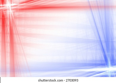 Red and blue abstract flash frame background over white with copyspace