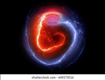 Red and blue ball lightning, abstract electric element