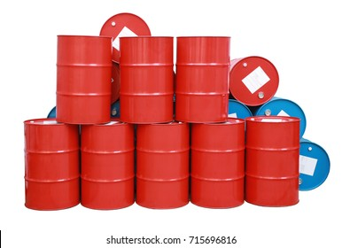 Red, blue barrel oil isolated white background
