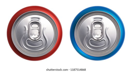 Red and blue cans top view isolated on white background