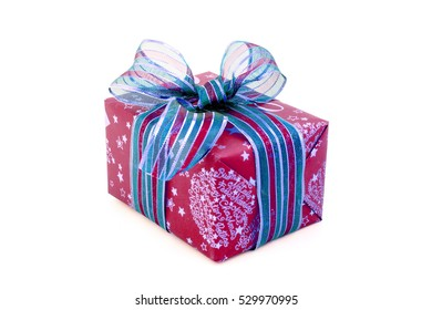 red and blue Christmas gift with ribbon isolated.