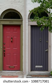 Red and Blue Colonial Doors