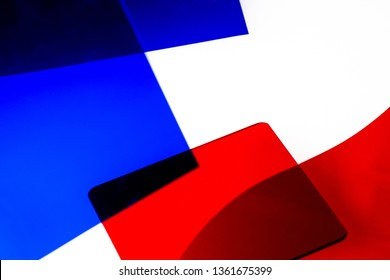 red and blue color blocks over white, abstract background