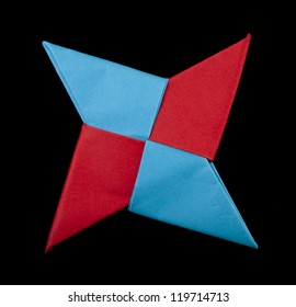Red and blue colors decorative element. Ninja star