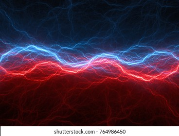 Red and blue electrical lightnings, abstract plasma